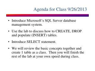 Agenda for Class  9/26/2013
