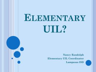 Elementary  UIL?