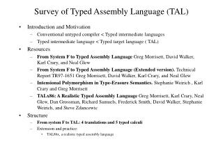 Survey of Typed Assembly Language (TAL)