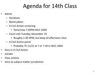 Agenda for  14th  Class