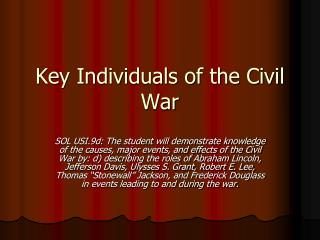 Key Individuals of the Civil War