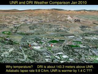 UNR and DRI Weather Comparison Jan 2010