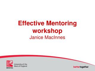 Effective Mentoring workshop Janice MacInnes