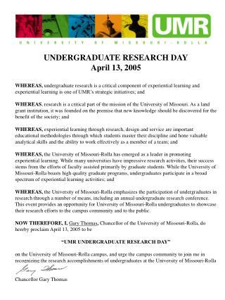 UNDERGRADUATE RESEARCH DAY April 13, 2005