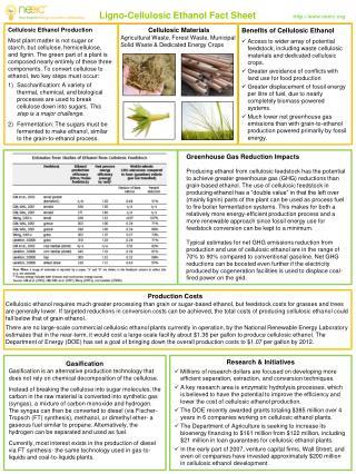 Ligno-Cellulosic Ethanol Fact Sheet