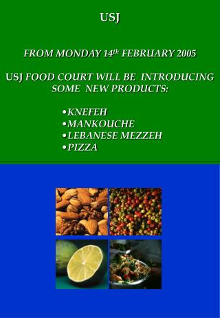 USJ FROM MONDAY 14 th  FEBRUARY 2005 USJ  FOOD COURT  WILL BE   INTRODUCING SOME  NEW PRODUCTS: