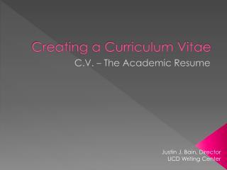 Creating a Curriculum Vitae
