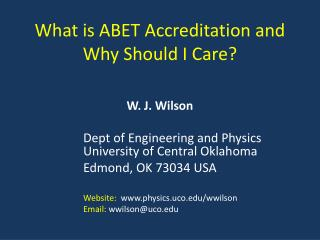 What is ABET Accreditation and  Why Should I Care?