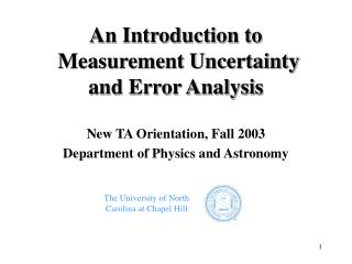 An Introduction to  Measurement Uncertainty and Error Analysis