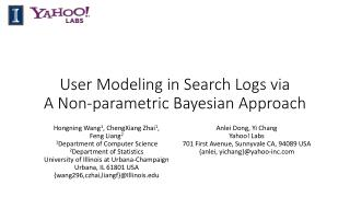 User Modeling in Search Logs via                  A Non-parametric Bayesian Approach
