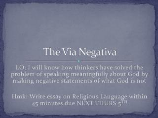 The Via  Negativa