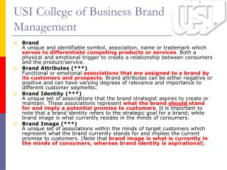 USI College of Business Brand Management
