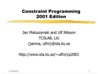 Constraint Programming  2001 Edition