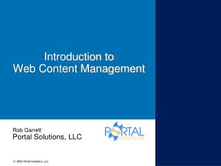 Introduction to Web Content Management