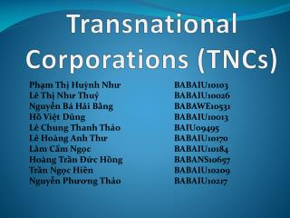 Transnational Corporations (TNCs)