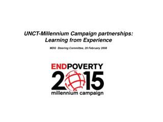 UNCT-Millennium Campaign partnerships: Learning from Experience