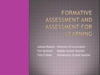 Formative assessment and Assessment for Learning