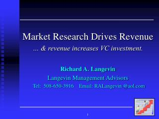 Market Research Drives Revenue … & revenue increases VC investment. Richard A. Langevin