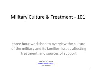 Military Culture  Treatment - 101