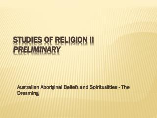 Studies of Religion II Preliminary