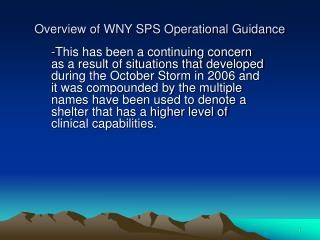 Overview of WNY SPS Operational Guidance