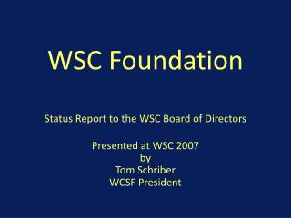 WSC Foundation