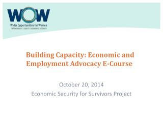 Building Capacity: Economic and Employment Advocacy E-Course