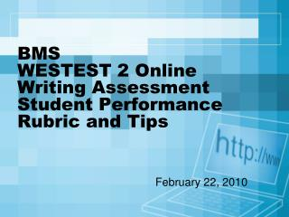 BMS   WESTEST 2 Online Writing Assessment Student Performance Rubric and Tips