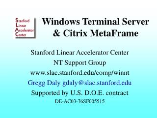 Windows Terminal Server & Citrix MetaFrame