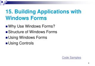 15.  Building Applications with Windows Forms