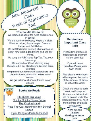 Mrs. Monacelli`s Class Week  of September  2nd