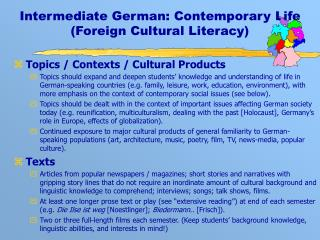 Intermediate German: Contemporary Life (Foreign Cultural Literacy)