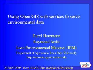 Using Open GIS web services to serve environmental data
