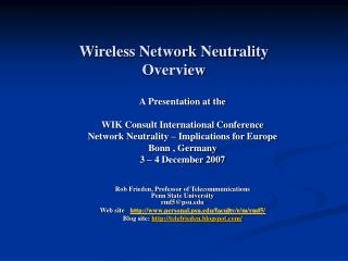 Wireless Network Neutrality Overview