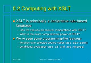 5.2 Computing with XSLT