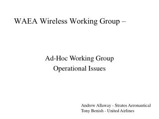 Ad-Hoc Working Group Operational Issues