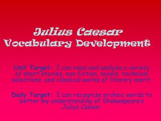 Julius Caesar Vocabulary Development