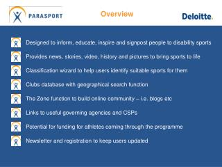 Designed to inform, educate, inspire and signpost people to disability sports