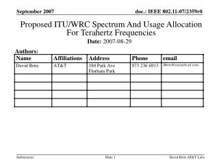 Proposed ITU/WRC Spectrum And Usage Allocation  For Terahertz Frequencies