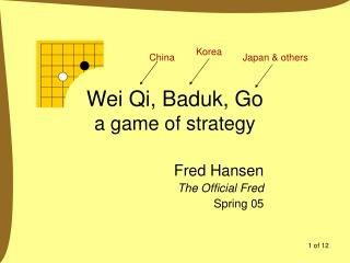 Wei Qi, Baduk, Go a game of strategy