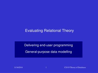Evaluating Relational Theory
