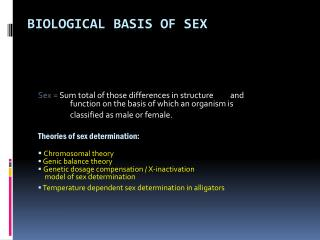Biological Basis of Sex