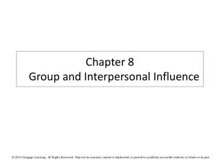 Chapter 8 Group  and Interpersonal Influence