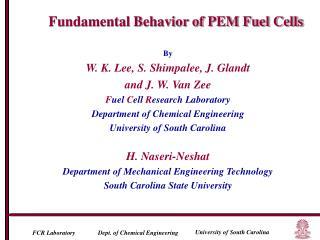 By W. K. Lee, S. Shimpalee, J. Glandt  and J. W. Van Zee F uel  C ell  R esearch Laboratory