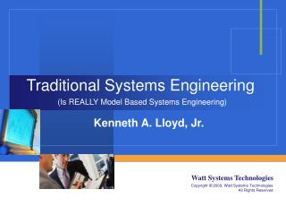 Traditional Systems Engineering