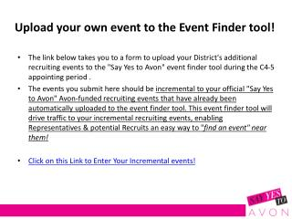 Upload your own event to the Event Finder tool!