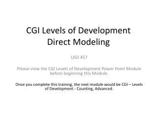 CGI Levels of Development  Direct Modeling