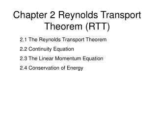 Chapter 2 Reynolds Transport Theorem (RTT)