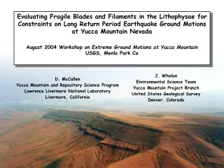 D. McCallen Yucca Mountain and Repository Science Program Lawrence Livermore National Laboratory