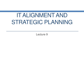 Business strategy and Information Technology Alignment